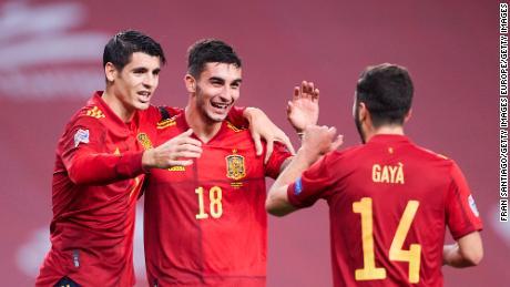 Ferran Torres celebrates after scoring his hat-trick.