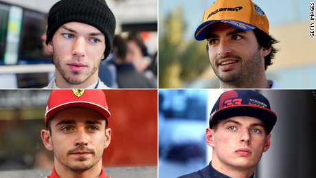 (From top-left clockwise) Pierre Gasly, Carlos Sainz, Max Verstappen and Charles Leclerc all had fathers and other family members who competed in professional motorsport before they entered the sport themselves.