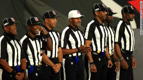 The first all-Black officiating crew at Monday's game between the Tampa Bay Buccaneers and the Los Angeles Rams.