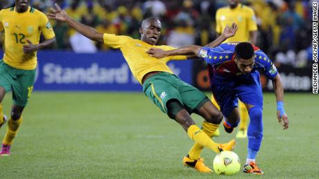 Ngcongca (center) wins possession during an Africa Cup of Nations game against Cape Verde in January 2013.