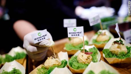 """Beyond Meat serving its new crunchy pork """"bite"""" at a tasting in China on Wednesday."""