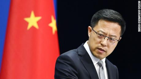 Chinese Foreign Ministry spokesman Zhao Lijian attends a news conference in Beijing on Aug. 28.