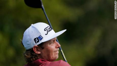Cameron Smith, of Australia, watches his tee shot on the ninth hole during the final round of the Masters.