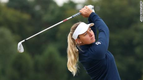 Pedersen plays her shot on the second hole during day four of the Ladies Scottish Open.