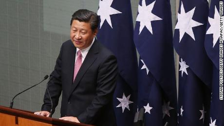 Chinese President Xi Jinping addresses the Australian government in the House of Representatives at Parliament House on November 17, 2014 in Canberra, Australia.
