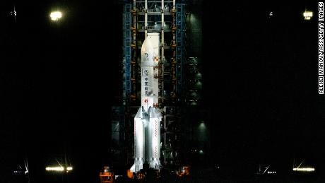 The Long March 5 rocket carrying Chang'e 5 is seen on the launch pad at the Wenchang Space Launch Site on Hainan.