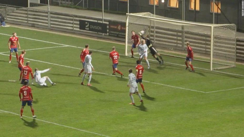 Nicolai Geertsen: Defender scores 'miraculous' scissor kick after his bicycle kick rebounds off crossbar