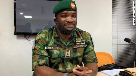 Brigadier Ahmed Taiwo attends a judicial panel  investigating the shooting of protesters in Lagos, Nigeria, on November 14, 2020.