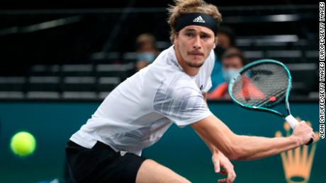 Alexander Zverev stretches for the ball in the Paris Master semfinals against Rafael Nadal .