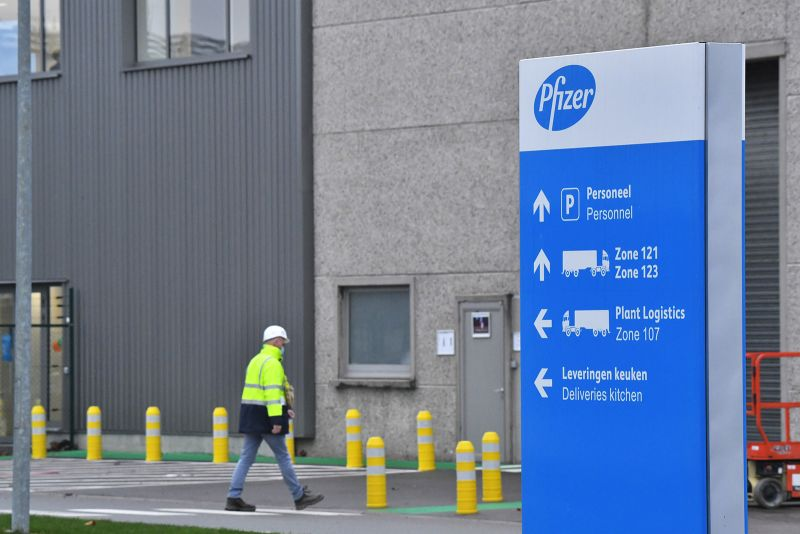 A worker near the Pfizer facility in Puurs, Belgium, on December 3.