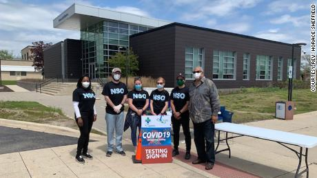 Rev. Horace Sheffield (far right) of Detroit and volunteers offered COVID-19 testing to the community this year.