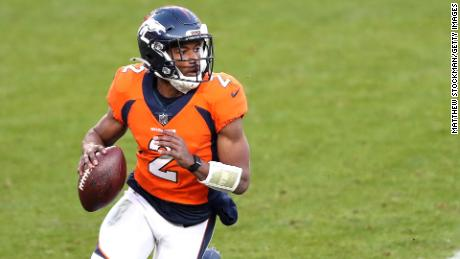 Denver Broncos' Kendall Hinton looks for a pass against the New Orleans Saints on November 29.