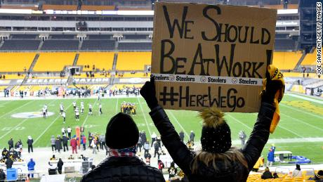 A fan displays a sign during a game between the Pittsburgh Steelers and Baltimore Ravens at Heinz Field on December 2.