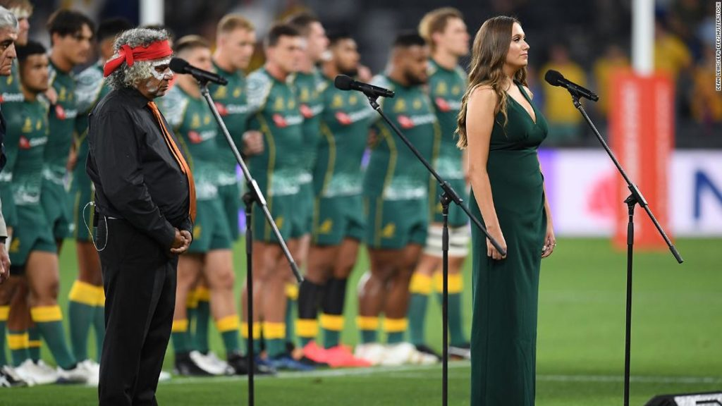 Nation rugby players sing Australia's national anthem in Indigenous language for first time before match