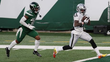 A Hail Mary pass to Henry Ruggs III sealed the win against the 0-12 New York Jets for the Las Vegas Raiders.