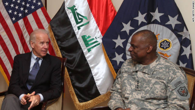 Then-US Vice President Joe Biden (L) meets with General Lloyd Austin, the commander of United States Forces - Iraq (USF-I), and US ambassador in Iraq James Jeffrey (unseen) at the US embassy upon the former's arrival at Baghdad on a surprise visit on November 29, 2011. AHMAD AL-RUBAYE/AFP/Getty Images