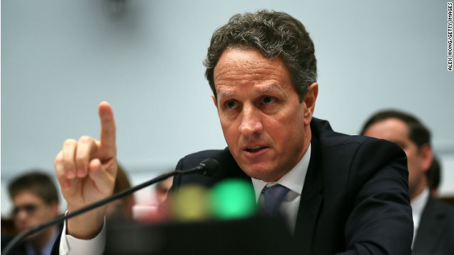 In this July 25, 2012, file photo, Secretary of the Treasury Timothy Geithner testifies during a hearing before the House Financial Services Committee on Capitol Hill in Washington.