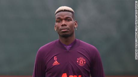 Pogba in action during training.