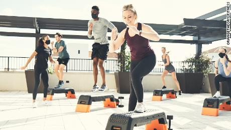 Orangetheory Fitness has been forced to move some of its high-intensity interval classes outdoors because of the pandemic. The company strongly urges members to wear a mask indoors.