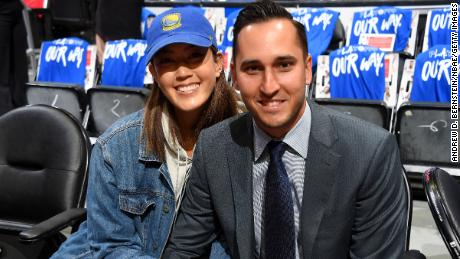 Wie and Jonnie West attend Game Six of round one between the Golden State Warriors and the LA Clippers in 2019.