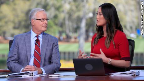 Wie West and Mark Rolfing on the Golf Channel set during a practice round prior to The Players Championship.