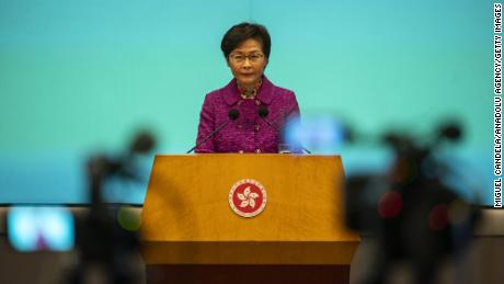 Carrie Lam, Hong Kong's chief executive, speaks to the press during a news conference on November 25.