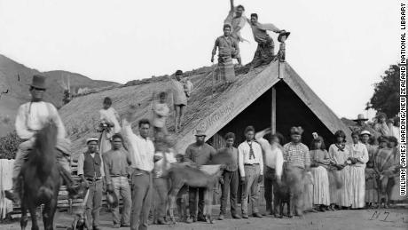 Te Mataruru Marae -- or Māori communal place -- in Whanganui district in the 1880s. Photograph taken by the studio of William James Harding.