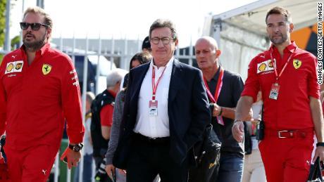Louis Camilleri's (center) surprise resignation as CEO of Ferrari has cast doubt over Binotto's position as team principal.