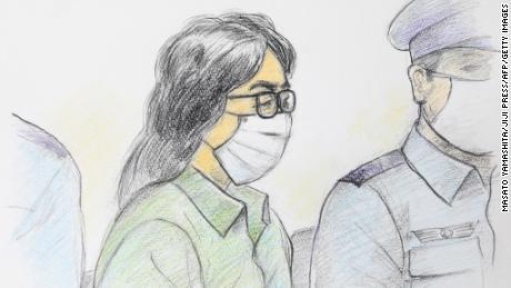 This court sketch drawing created on September 30, 2020 shows Takahiro Shiraishi at the first trial at Tokyo District Court Tachikawa Branch in Tachikawa, Tokyo.
