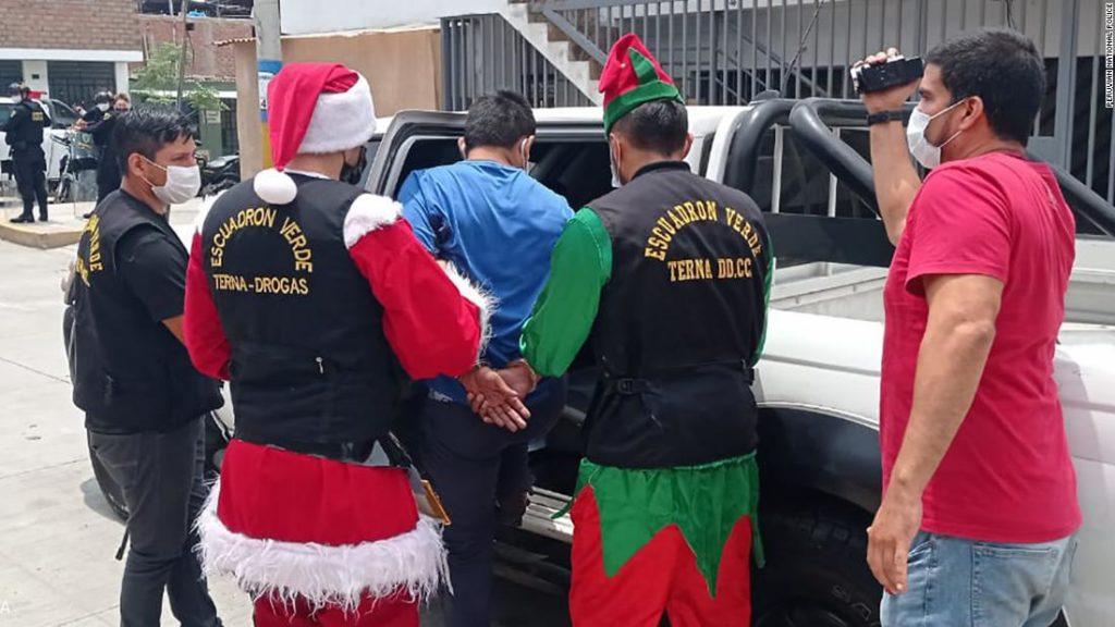 Peruvian police dress as Santa and elves for drug raid
