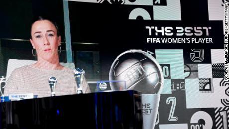 Lucy Bronze gives her acceptance speech via video link after winning the women's award.