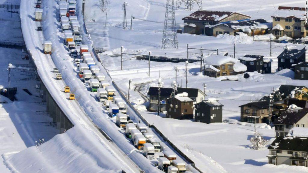Japan snowstorm: 1,000 people stuck overnight in 9-mile traffic jam