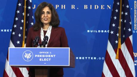 Director of the Office of Management and Budget nominee Neera Tanden speaks during an event to name President-elect Joe Biden's economic team at the Queen Theater on December 1, 2020, in Wilmington, Delaware.