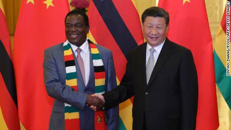 Chinese President Xi Jinping (right) shakes hands with his  Zimbabwean counterpart President, Emmerson Mnangagwa on September 5, 2018, a day after the conclusion of the Forum On China-Africa Cooperation.