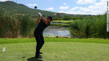 Bezuidenhout tees off on the 8th hole during the final round of the South African Open.