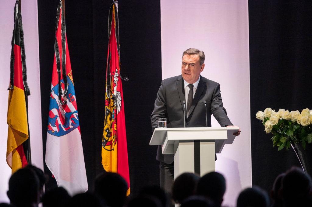 Claus Kaminsky, mayor of Hanau, speaks during a memorial event on February 4 in Hanau, Germany.