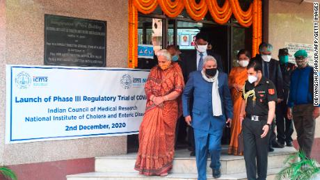 Governor of the eastern Indian state of West Bengal Jagdeep Dhankhar (center) at the launch of the third phase of the regulatory trial of COVAXIN in December 2020.