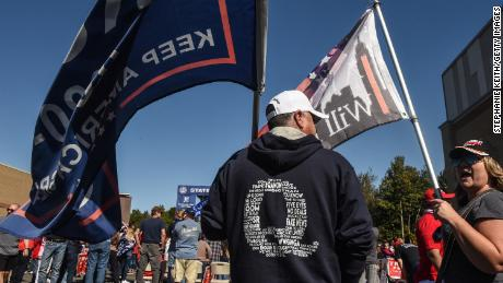 A person wears a QAnon sweatshirt during a pro-Trump rally on October 3 in the borough of Staten Island in New York City.