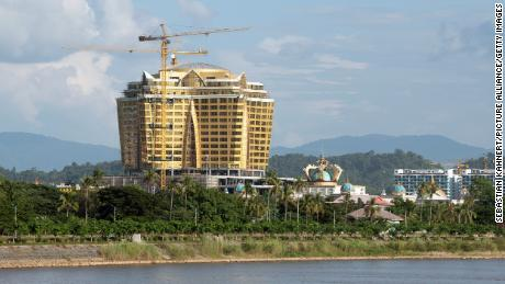 A view over the Mekong River to the Kings Romans Casino in Laos.