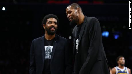 Harden reportedly wants a move to the Brooklyn Nets to form a super team with Kyrie Irving (left) and Kevin Durant (right).