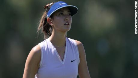 Wie after she has hit her tee shot on the 13th hole during the first round of the ANA Inspiration in 2019.
