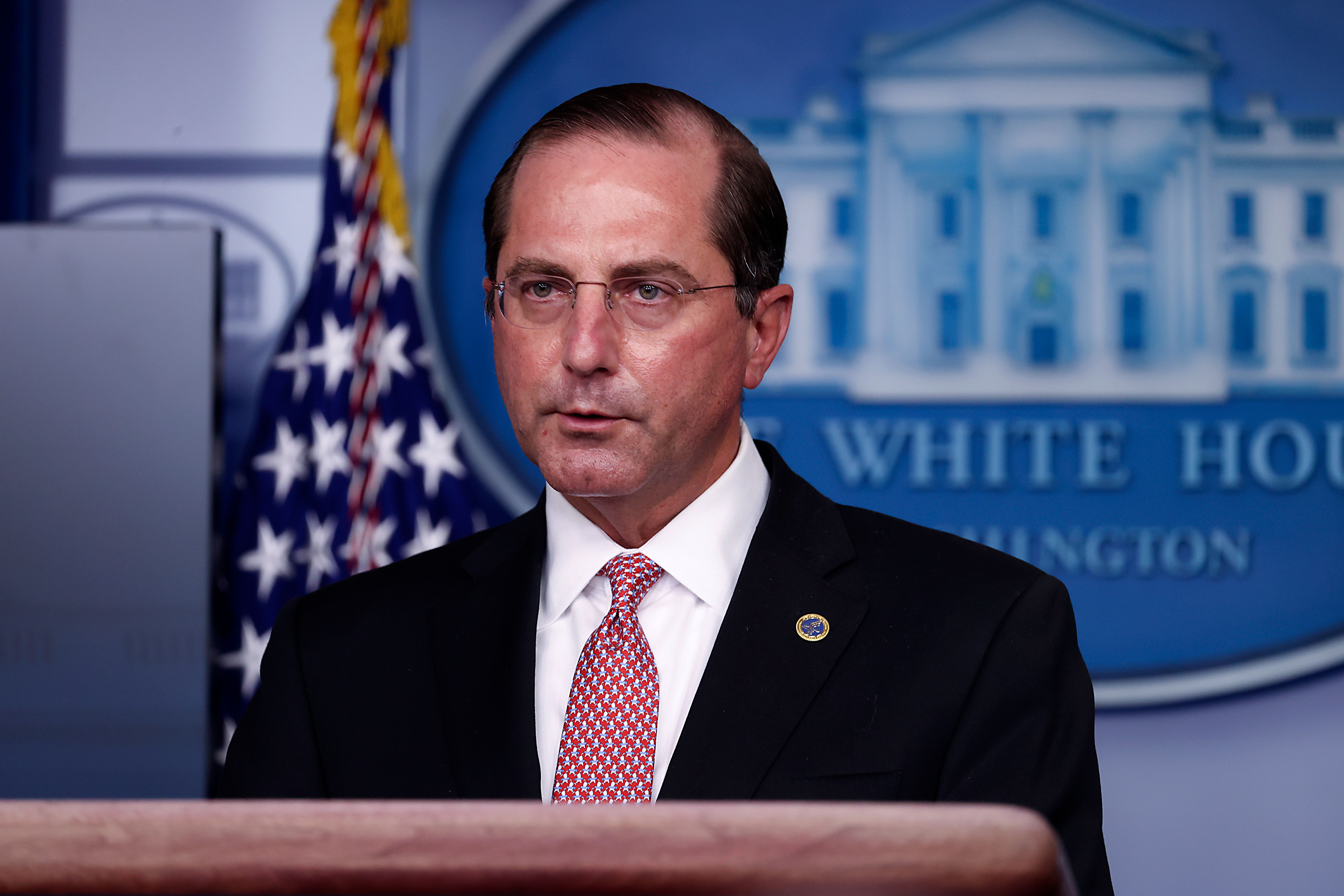 Alex Azar, US secretary of Health and Human Services, speaks during a press briefing at the White House on November 19.