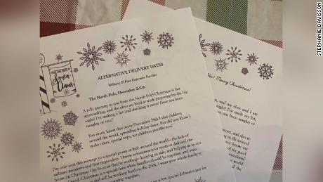 """Stephanie Davisson created a template to make custom-written """"letters from Santa."""" The notes tell kids celebrating Christmas on days other than December 25th that St. Nick will still show up."""