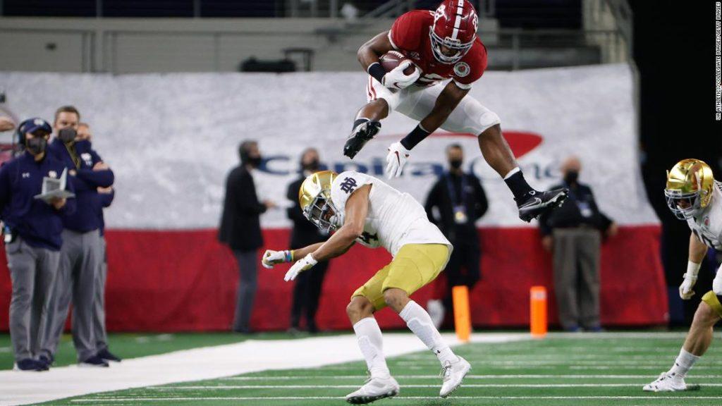 Najee Harris hurdles over Notre Dame defender in Rose Bowl after Megan Rapinoe tells him to