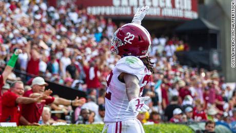 Alabama running back Najee Harris often imitates Rapinoe's goal celebration after scoring a touchdown.