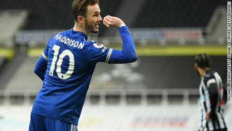 Darts fan James Maddison of Leicester City celebrates after scoring the opener at Newcastle in a 2-1 win.