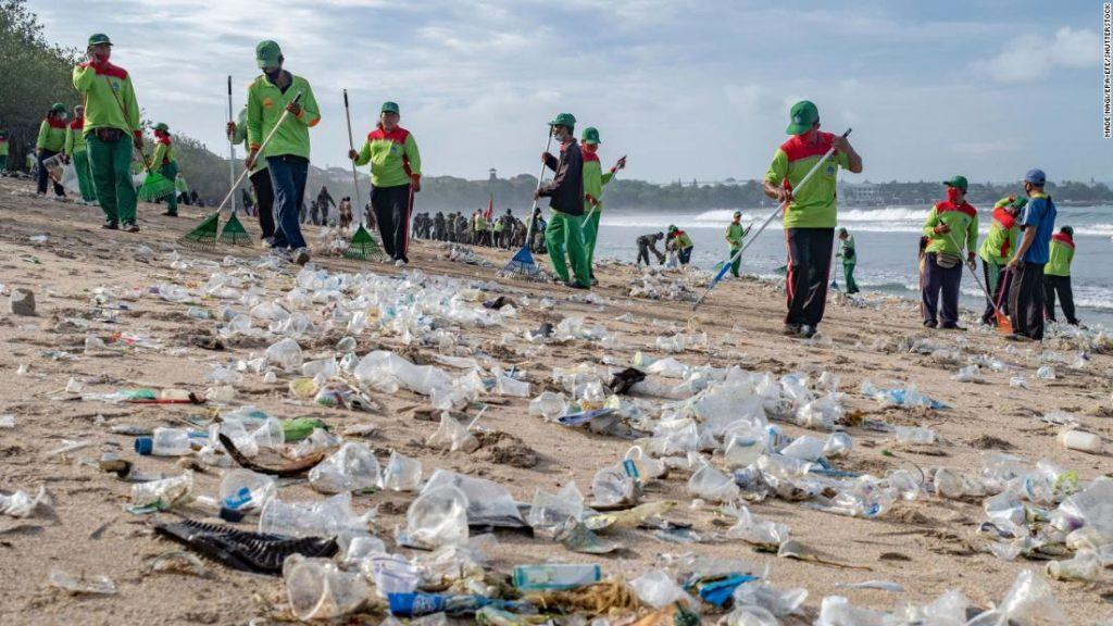 Bali's Kuta Beach cleared of tons of plastic waste