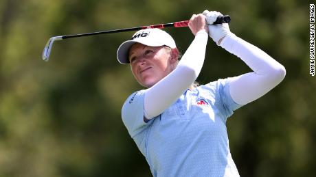 Stacy Lewis hits her first shot on the third hole during the second round of the Walmart NW Arkansas Championship.
