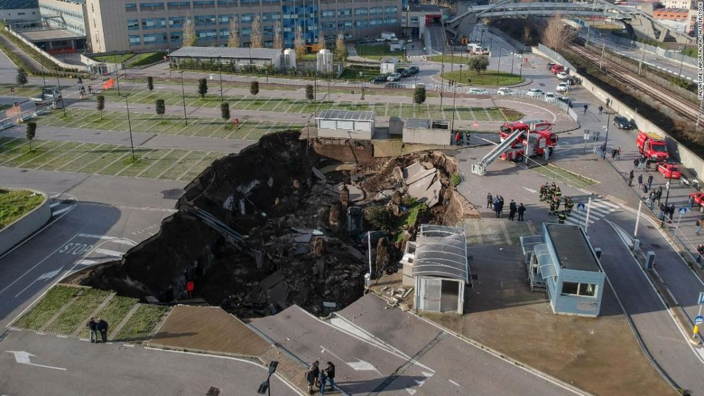Huge sinkhole opens up outside Naples hospital, forcing evacuation of Covid patients