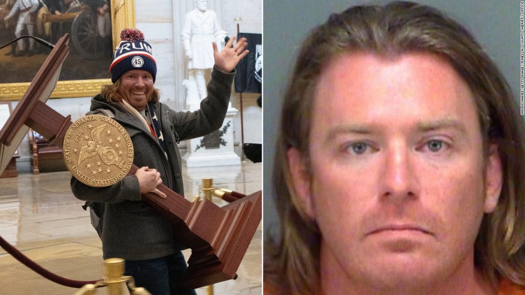 Man seen carrying Speaker Pelosi's podium in US Capitol riot arrested